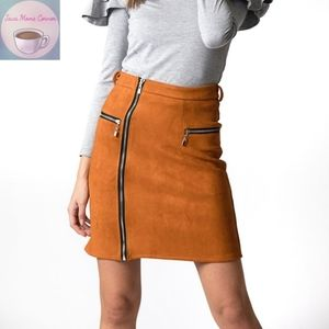 Haute Rogue Gale Boho Faux Suede Mini Skirt Orange
